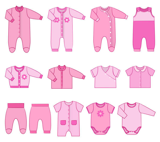 Children clothes for newborn baby girls. Vector illustration. Baby clothes. Garments for infant girls. Vector. Kids bodysuits, overalls, rompers, dress. Set icons pink clothing in flat style. Illustration with isolated objects with stroke on white background. baby clothing stock illustrations