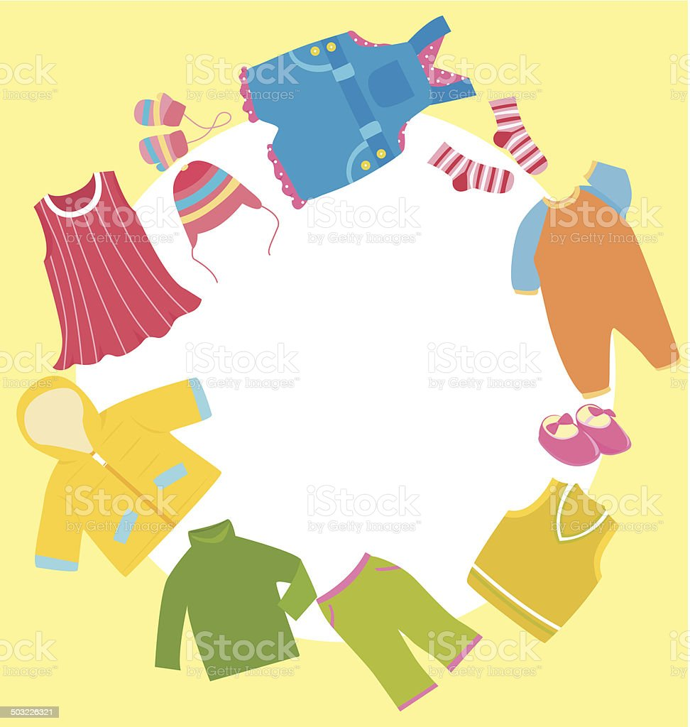 Children Clothes Frame Stock Vector Art & More Images of Baby ...