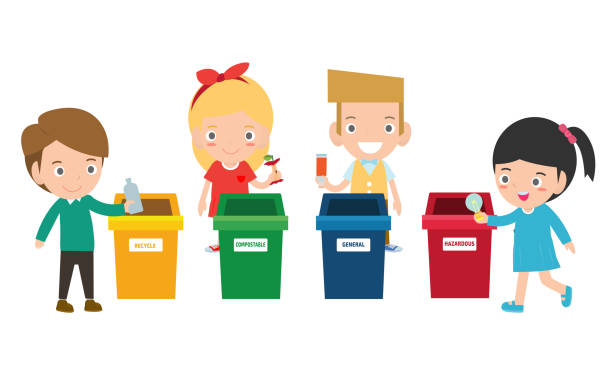children collect rubbish for recycling, illustration of kids segregating trash, recycling trash, save the world , boy and girl recycling, kids segregating trash, children and recycling. - child throwing garbage stock illustrations, clip art, cartoons, & icons
