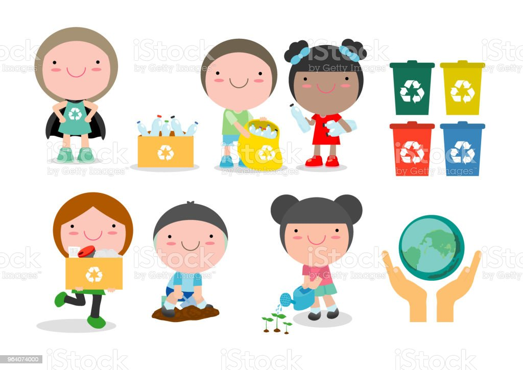 Children collect rubbish for recycling, Illustration of Kids Segregating Trash, recycling trash, Save the World , Save Earth,boy planted young trees. Girl watering flowers from watering can. - Royalty-free Animal stock vector