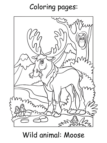 Children coloring book page moose vector illustration