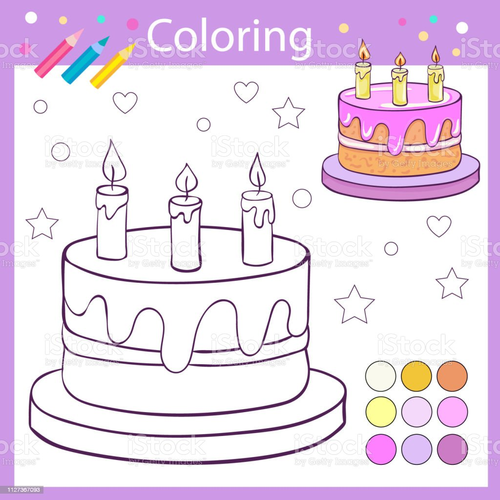 Pleasant Children Coloring Cartoon Birthday Cake With Candles Kids Game Personalised Birthday Cards Beptaeletsinfo