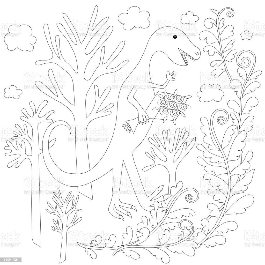 Ilustración de Los Niños Colorear Stock Página Vector Dinosaur ...