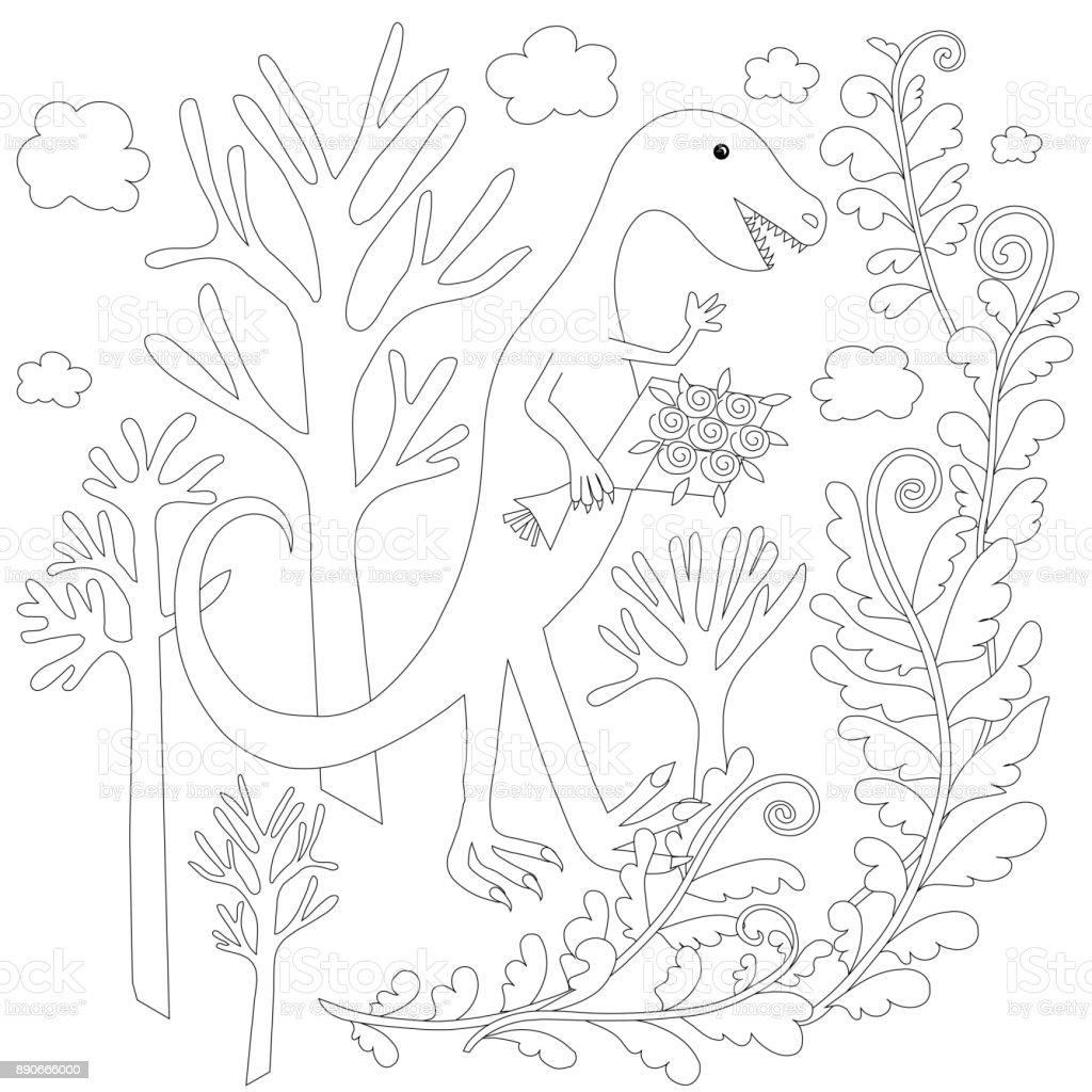 Ilustración De Los Niños Colorear Stock Página Vector Dinosaur