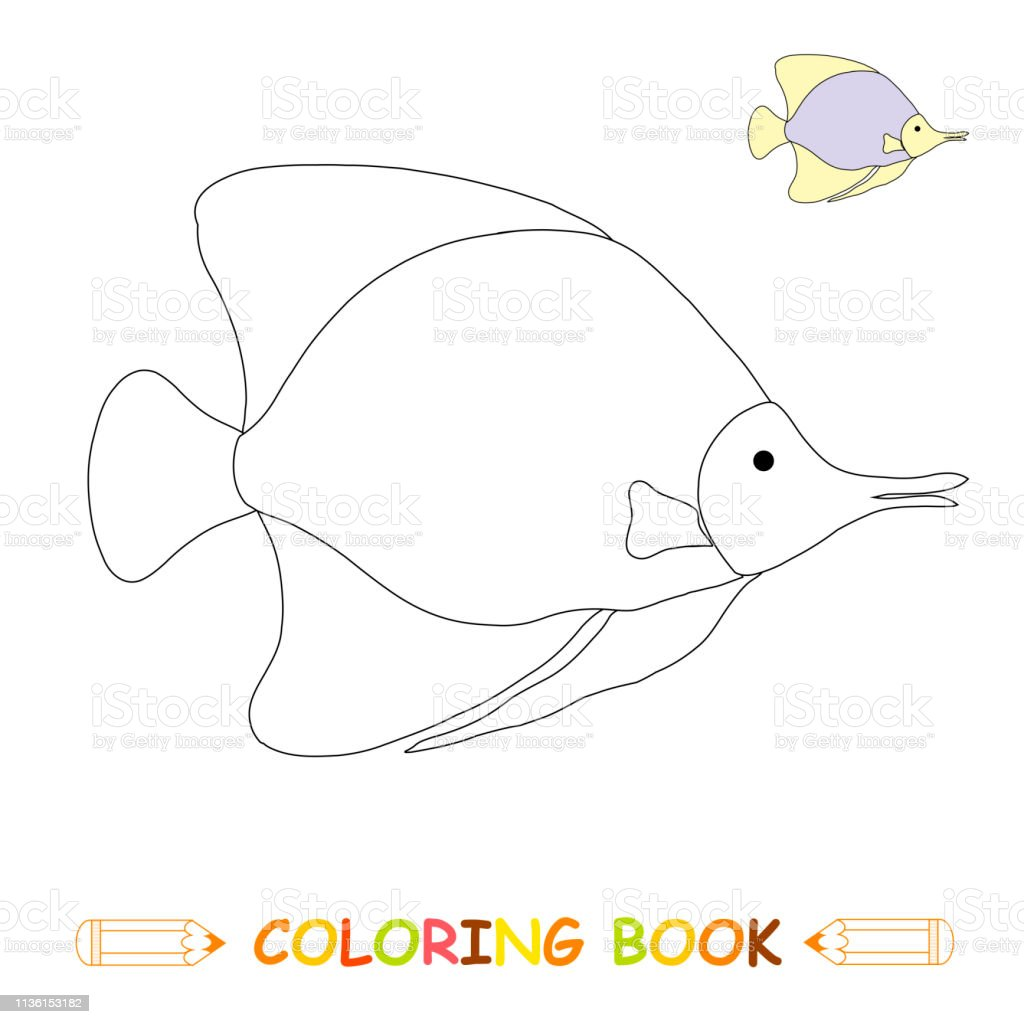 Children coloring page vector illustration cute fish in monochrome