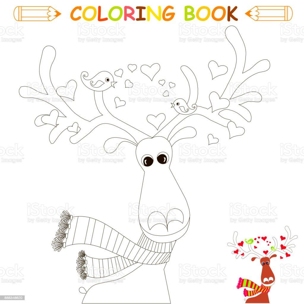 Kinder Malvorlagen Vektorillustration Niedlichen Rentier Lovebird