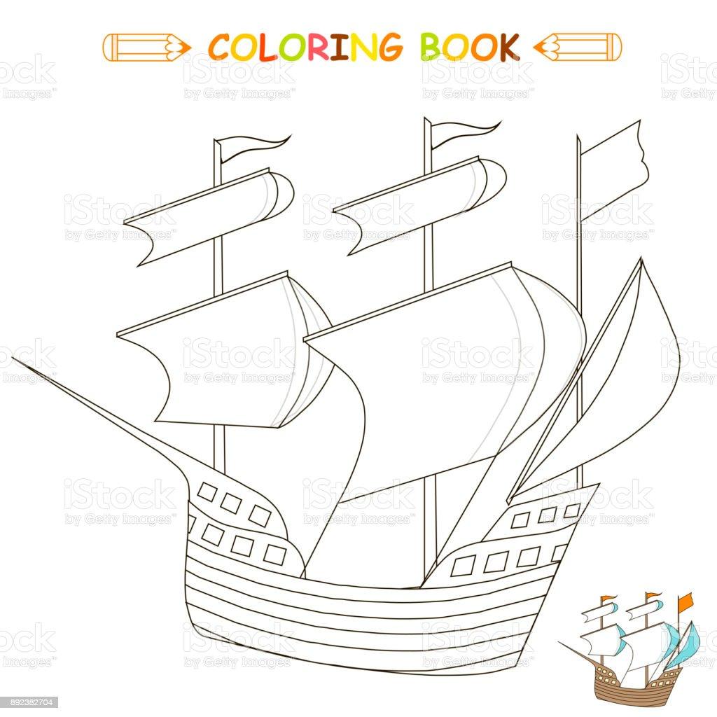Bateau Coloriage Couleur.Enfants Coloriage Vector Illustration Bateau Version Monochrome Et