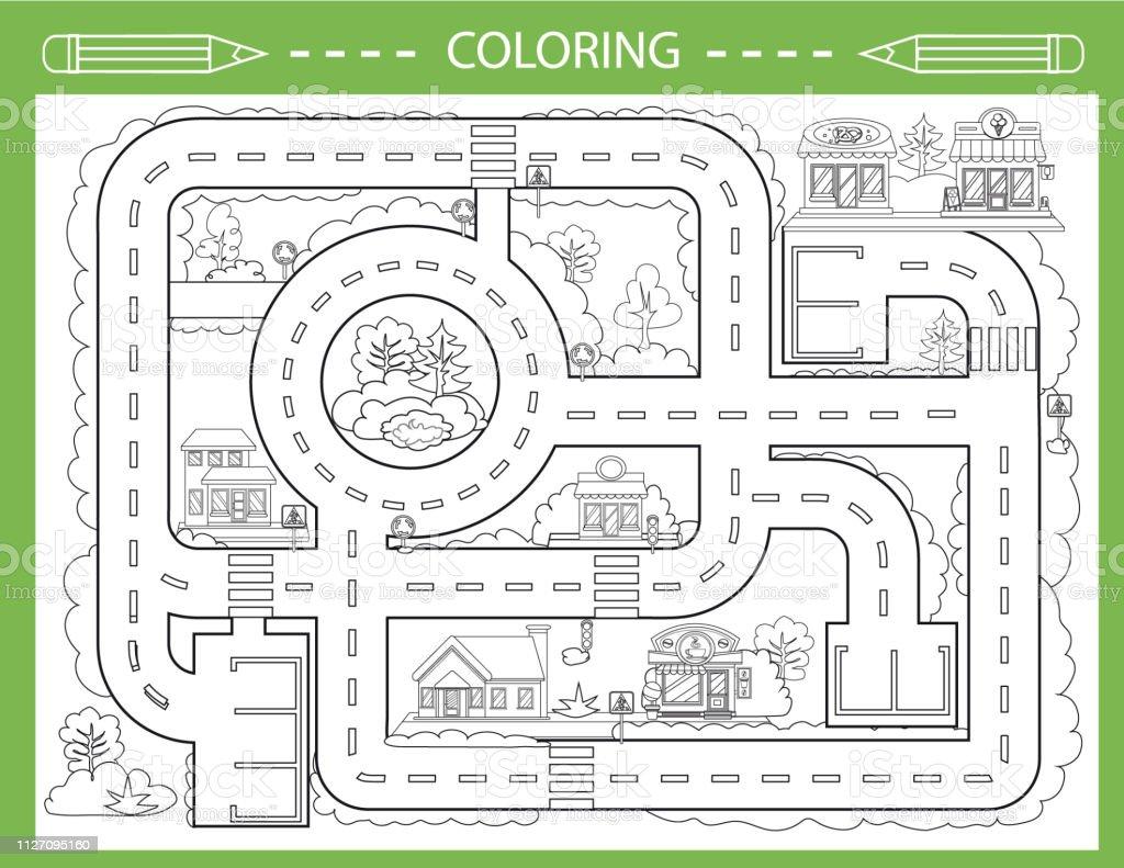 Ilustración De Niños Para Colorear Con El Camino De La Ciudad Juego