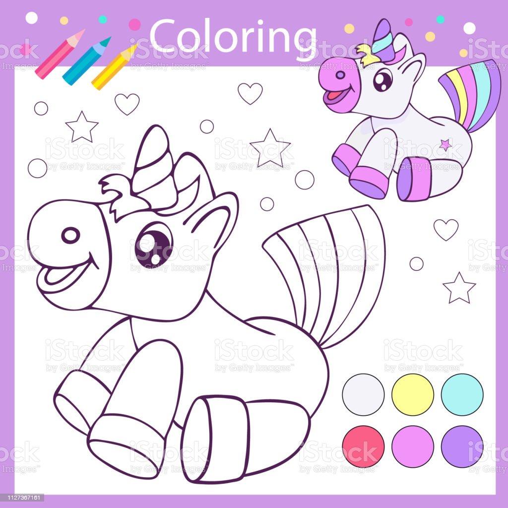 Schattige Kleurplaten Van Eten.Kinderen Kleurplaten Met Grappige Cartoon Schattig Unicorn