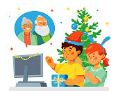 Children congratulating grandparents on New Year - flat design style illustration. Boy and girl in Santa hats greeting grandfather and grandmother online. Holiday celebration in pandemic times idea