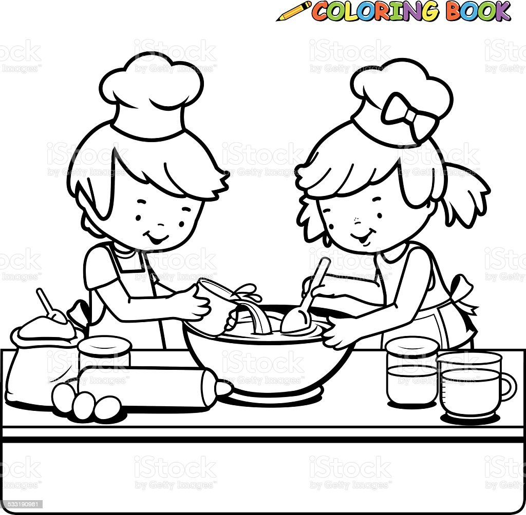 - Children Cooking Coloring Book Page Stock Illustration - Download Image Now  - IStock