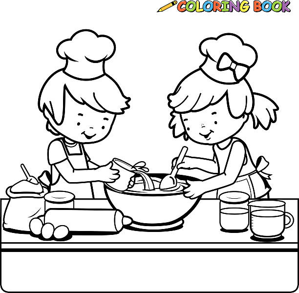 Children Cooking Coloring Book Page Vector Art Illustration