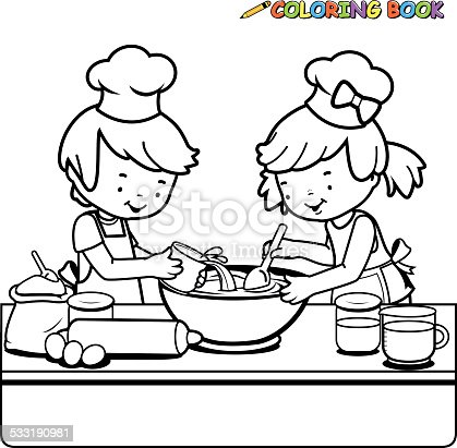 Children Cooking Coloring Book Page Stock Vector Art