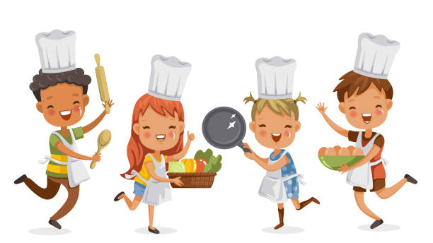 children cooking Children cooking.boys and girls preparing the cooking equipment together happily. holds kitchenware,vegetables and eggs. concept is learning and practicing moments of childhood.Vector illustrations. children only stock illustrations