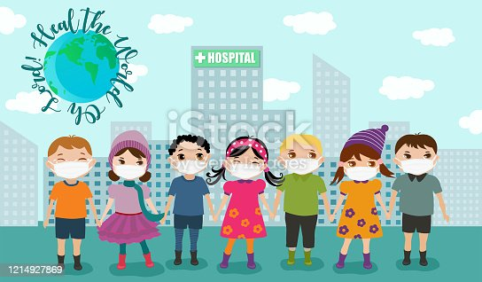 istock Children cross the globe wearing mask to protect from the covid-19 pandemic. 1214927869