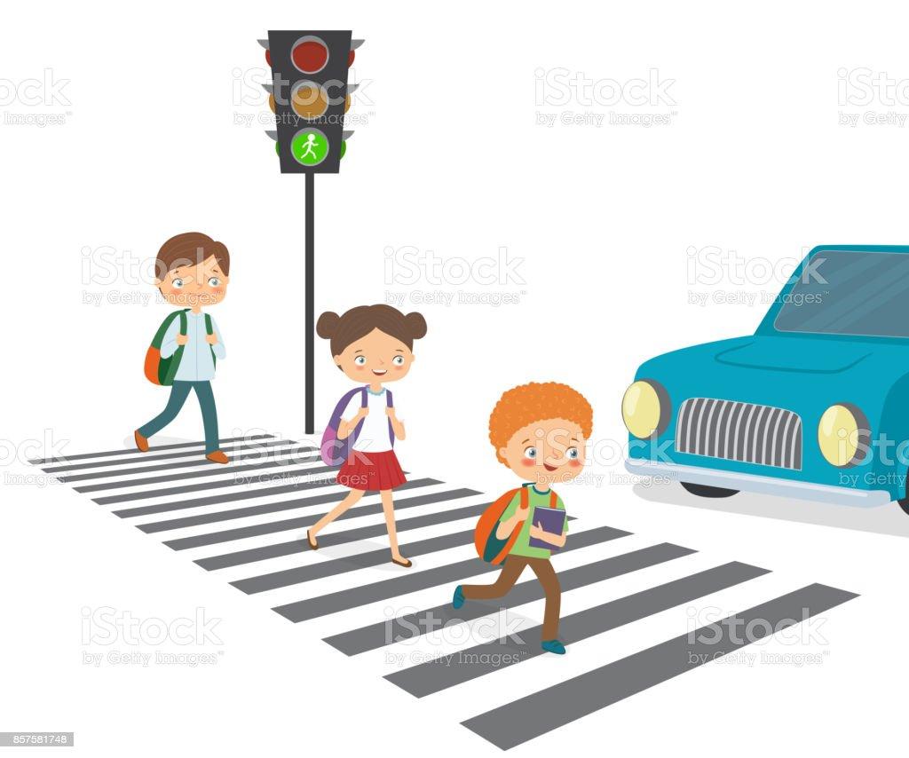 Children cross the road to a green traffic light vector art illustration