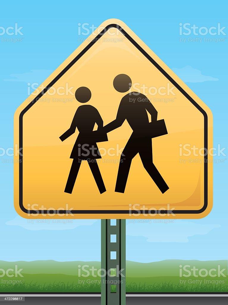 Children Crossing Road Sign royalty-free stock vector art