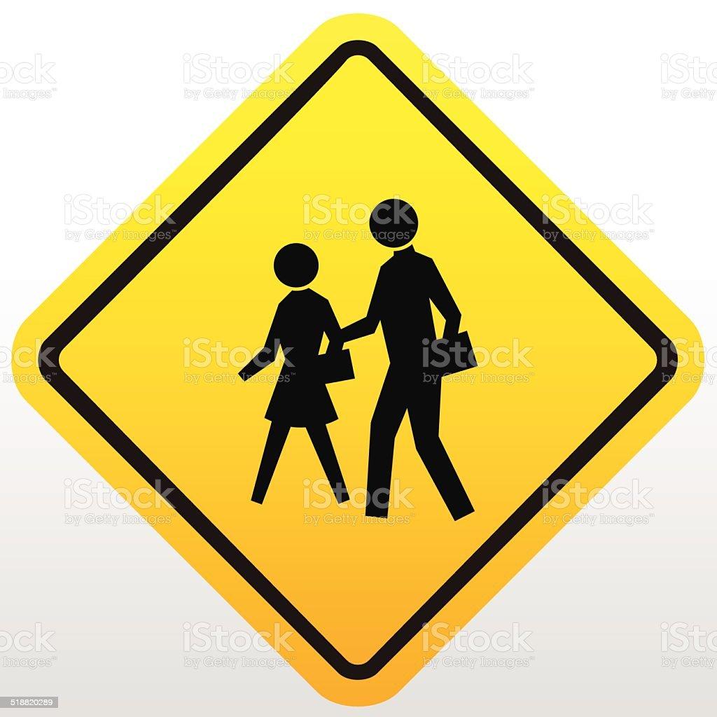 Children crossing sign vector art illustration