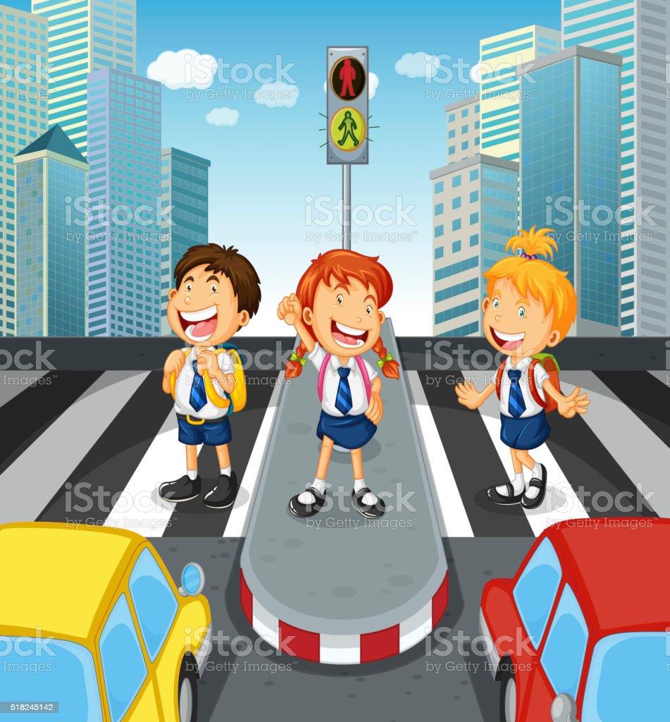 Kinder Überqueren Sie Die Straße Am Zebrastreifen Stock Vektor Art ...