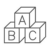 istock Children cubes thin line icon, education concept, toy cubes with letters sign on white background, alphabet blocks with A,B,C letters icon in outline style for mobile and web. Vector graphics. 1255829311