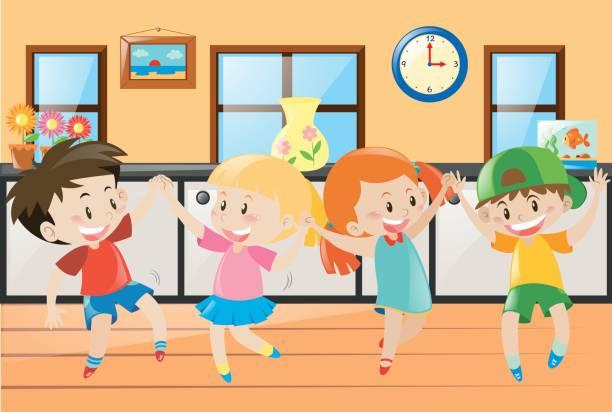 ilustrações, clipart, desenhos animados e ícones de crianças dançando em casa - salas de aula