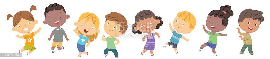 Vector children dancing