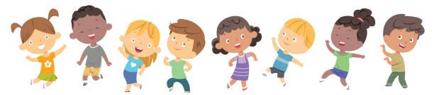 kinder tanzen - kind stock-grafiken, -clipart, -cartoons und -symbole
