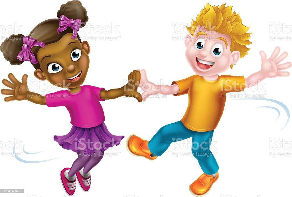 Children Dancing vector art illustration
