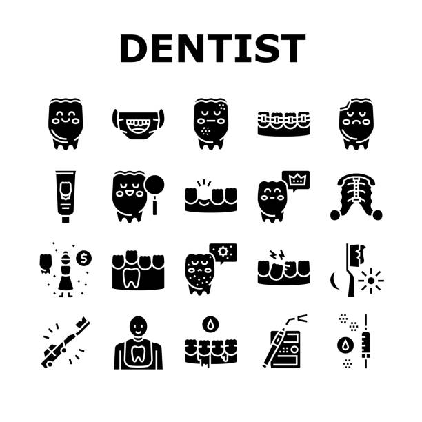 Children Dentist Dental Care Icons Set Vector Children Dentist Dental Care Icons Set Vector. Dentist And Orthodontics Equipment, Research And Caries Treatment, Baby And Molar Teeth Glyph Pictograms Black Illustrations streptococcus mutans stock illustrations