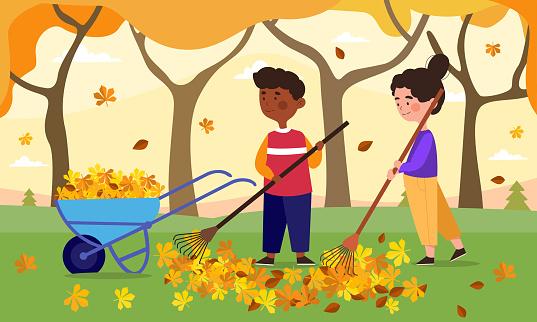 Children do housework concept