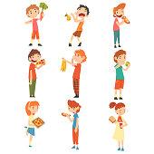 istock Children Do Not Like Vegetables and Fruits Set, Boys and Girls Enjoying Eating of Fast Food Vector Illustration Vector Illustration 1156622925