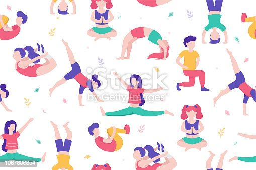 Children doing activities and sports in flat design vector illustration. Kids in the park seamless pattern isolated on white background doing physical exercises, yoga, stretching, gymnastics, sports.