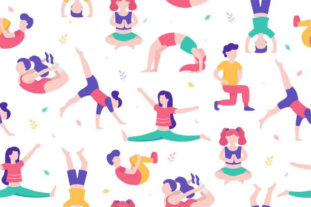 18 Little Kids With Various Summer Activities Clip Art Vector