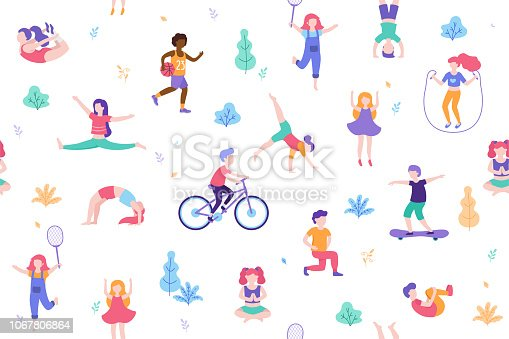 istock Children doing activities and sports in flat design vector illustration. People walk in the park seamless pattern isolated on white background. Kids doing yoga, stretching, gymnastics, exercises 1067806864