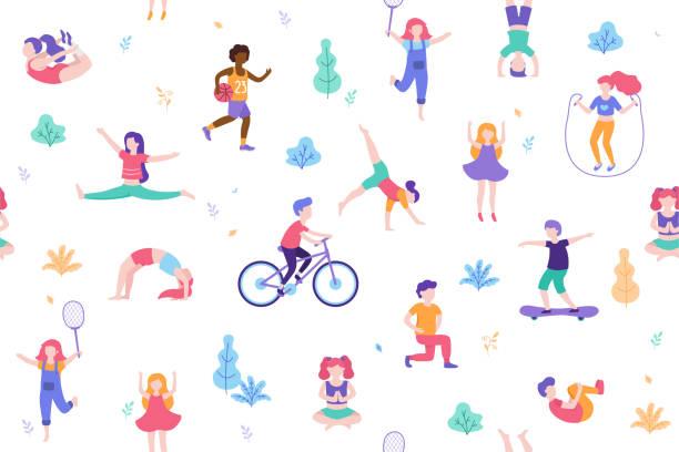 아이 들 활동 및 평면 디자인 벡터 일러스트 레이 션에 스포츠를 하 고. 사람들이 흰색 배경에 고립 공원 원활한 패턴에 도보. 키즈 요가, 스트레칭, 체조, 운동 - 레저 추구 stock illustrations
