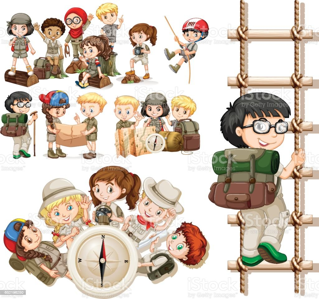 Children doing different activities for hiking vector art illustration