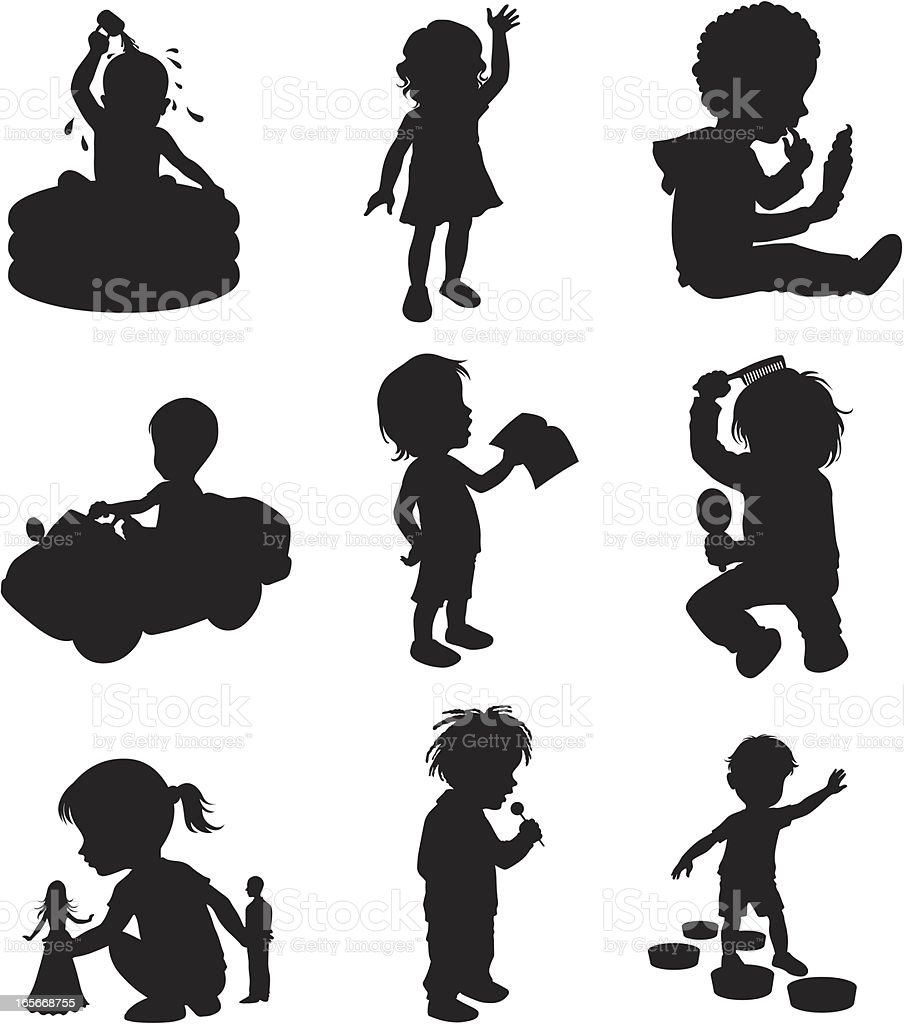 Children doing different activities vector art illustration