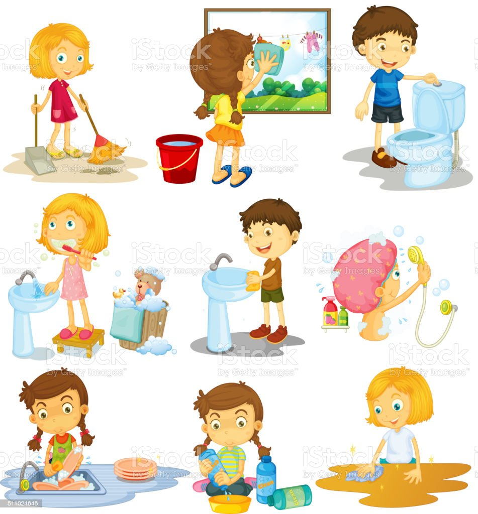 Children doing different chores vector art illustration