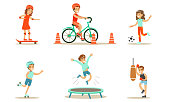 Children Doing Different Kind of Sports Set, Teen Boys and Girls Riding Bicycle, Playing Soccer, Rollerblading, Jumping On Trampoline, Boxing Vector Illustration on White Background.