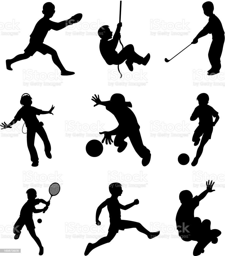Children doing different sports activities royalty-free stock vector art