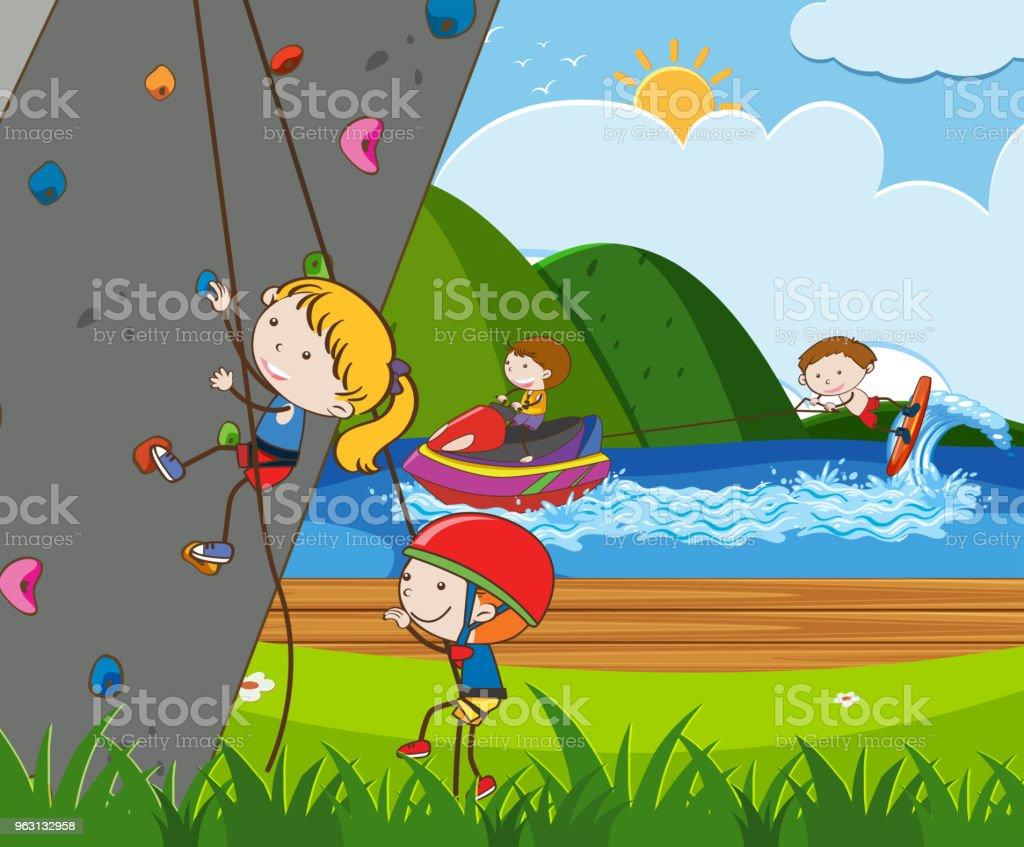 Barn gör utomhusaktiviteter i sommar - Royaltyfri Aktiv livsstil vektorgrafik