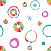 Children doodle hand drawn round, circle color pattern. Vector design.