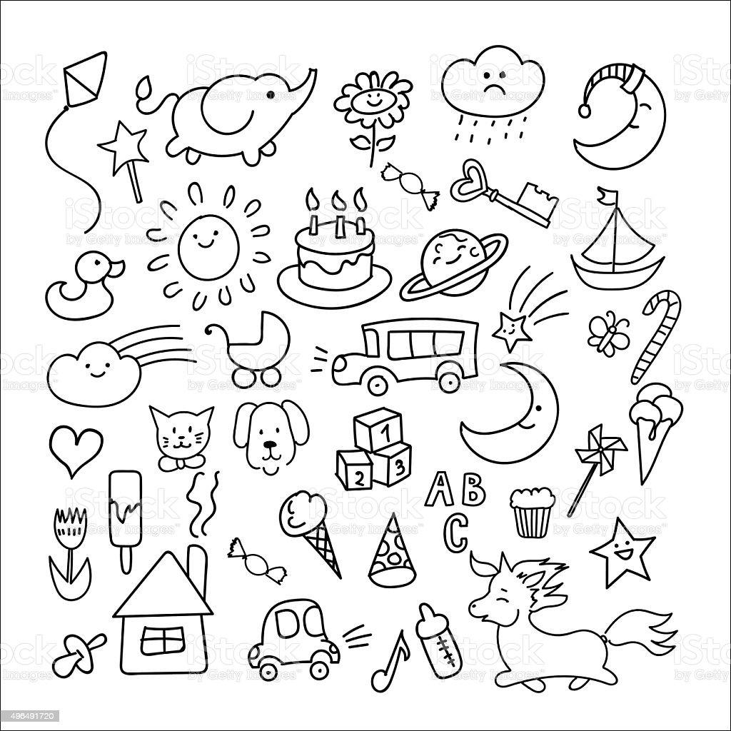 children doodle stock vector art more images of 2015 496491720 1680s Fashion children doodle illustration