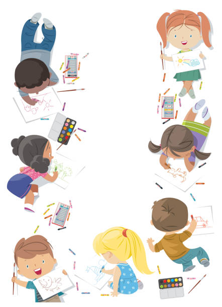 children draw frame - artsy backgrounds stock illustrations