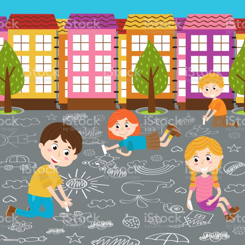 children draw on asphalt vector art illustration