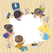 Vector children draw together on a large sheet of paper