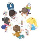 children draw together