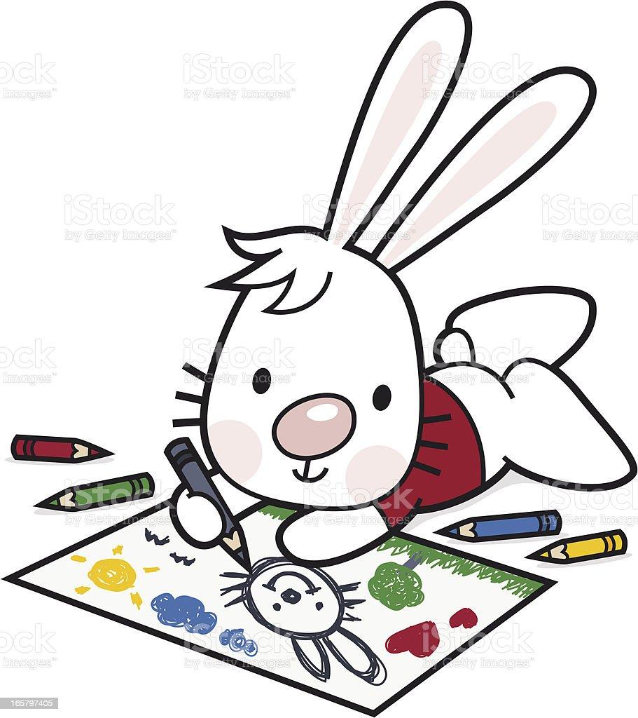 Enfants De Dessin Et Peinture Dessin Anime Lapin Et Crayons De