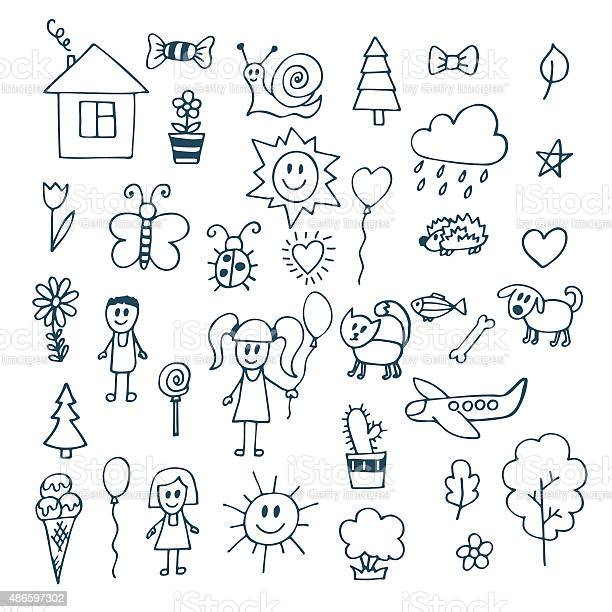 Children drawing doodle set of objects from a childs life vector id486597302?b=1&k=6&m=486597302&s=612x612&h=ms7nztb2g27ajqv3fpvh xsuc2t7uhppti3pv ulnao=