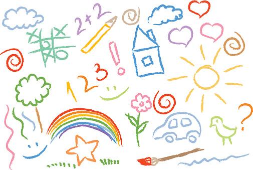 Children Drawing Multicolored Symbols Vector Set向量圖形及更多2015年圖片